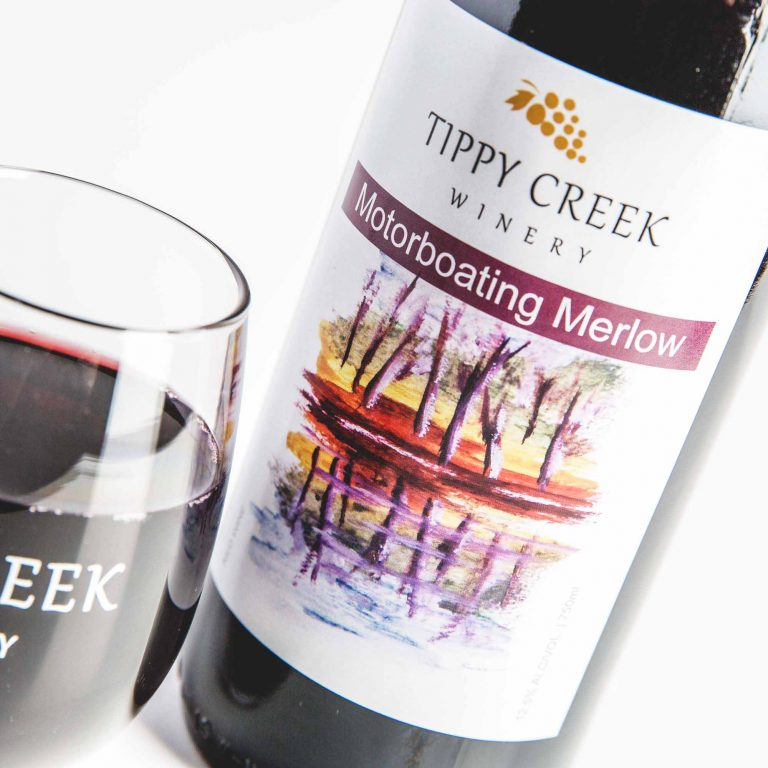 Motorboating Merlow. Red Wine from Tippy Creek Winery.