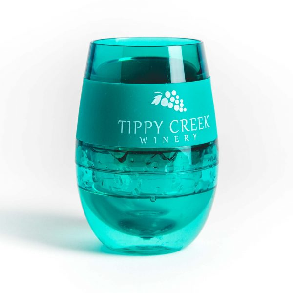 Green Host Wine FREEZE Cooling Cup with Tippy Creek Winery Logo