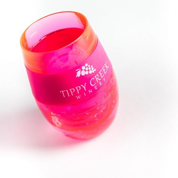 Pink Host Wine FREEZE Cooling Cup with Tippy Creek Winery Logo