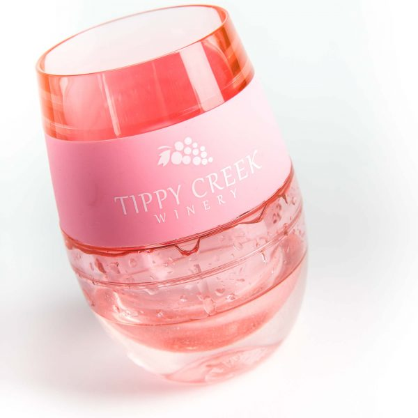 Light Pink Host Wine FREEZE Cooling Cup with Tippy Creek Winery Logo