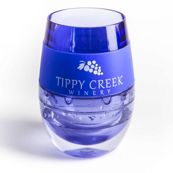 Blue Host Wine FREEZE Cooling Cup with Tippy Creek Winery Logo