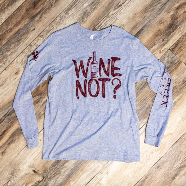 Grey Sip Happens Long Sleeve by Tippy Creek Winery
